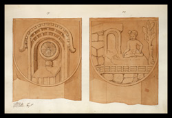 Two drawings of sculpture on the stupa rail at Bodhgaya (Bihar), made by Kittoe during his investigation of the site. January 1847. 10